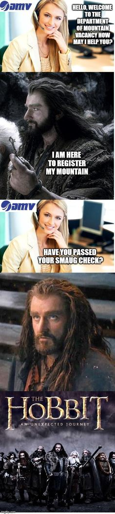 A meme of my own creation! The Hobbit: an unexpected journey, Smaug check, DMV, Funny!