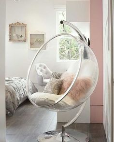 After Saarinen created the bubble chair he wanted to have light inside it and so., After Saarinen created the bubble chair he wanted to have light inside it and so. After Saarinen created the bubble chair he wanted to have light in. Cute Room Ideas, Cute Room Decor, Teen Room Decor, Pastel Room Decor, Room Decor Teenage Girl, Cool Home Decor, Beauty Room Decor, Chill Out Room Ideas, Wall Decor