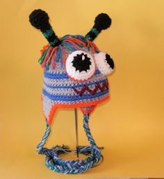 Crochet Pattern PDF Robot-Monster Hat. Beanie and Earflap. (All Sizes Included: Newborn to Adult). Permission to sell finished items.