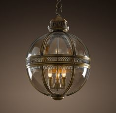 """$855 - Victorian Hotel Pendant DIMENSIONS Extra-Small Pendant: 12"""" diam., 18""""H; 14.7 lbs. Antique Brass, Bronze, Polished Nickel"""