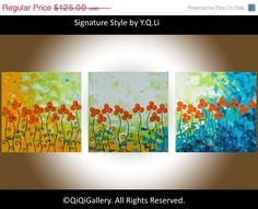 Original acrylic abstract painting heavy Textured by QiQiGallery