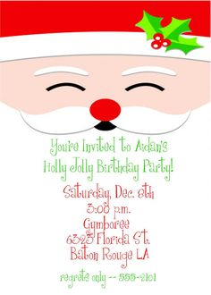 Christmas Birthday Party Invitation Holly by celebrationspaperie, $11.50