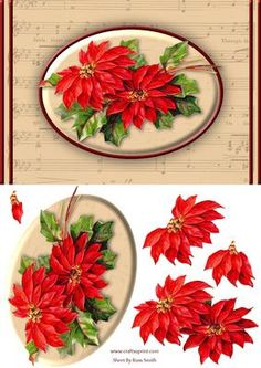 Poinsettias Music Quick Card on Craftsuprint designed by Russ Smith - A5 card front and decoupage layers, using a vintage painting of red poinsettias on a hymn-sheet background. - Now available for download!