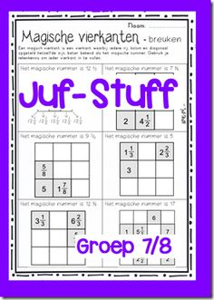 Magische vierkanten breuken Juf-Stuff School Teacher, Primary School, Math Classroom, 5th Grades, Homeschool, Teaching, Stage, Fractions, Fifth Grade