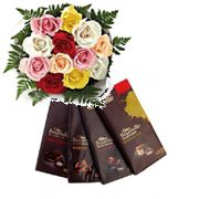 Cadbury Bournville Treat with 12 Mix Roses Bunch
