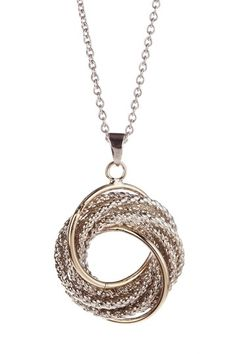 Two-Tone Braided Knot Pendant Necklace.