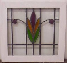 """Old English Leaded Stained Glass Window Flower Design 20"""" x 19 25"""" 
