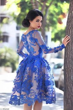 2016 Royal Blue Knee Length Homecoming Dresses Long Sleeves Lace Flowers Short Formal Cocktail Party Dresses