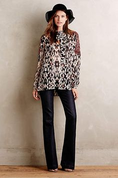 Love the top and style of these jeans -- fitted on top  with a slight flair on the bottom