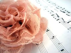 Coral Lacey Chiffon Flower Brooch Hair Clip by by bedeckle