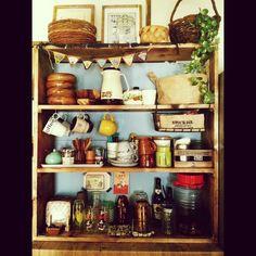 見せる収納。/キッチン収納/食器棚/男前も可愛いも好き/DIY/Kitchen…などのインテリア実例 - 2014-09-27 12:38:49 | RoomClip(ルームクリップ)
