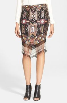 Haute Hippie Embellished Fringed Skirt available at #Nordstrom