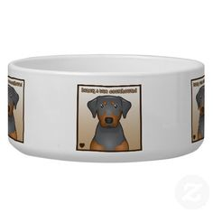 Black and Tan Coonhound Cartoon Heart Dog Water Bowl