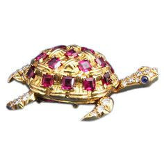 French Ruby Diamond Gold Turtle Brooch | From a unique collection of vintage brooches at https://www.1stdibs.com/jewelry/brooches/brooches/