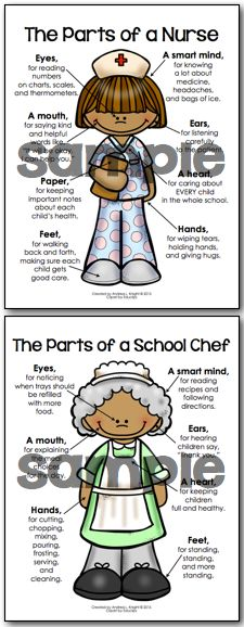 These are great for Back-To-School and Staff Appreciation Weeks!  Teach children who the important adults in their school are with this set of posters... principal, nurse, custodian, counselor, coach, chef, and more! Male & female versions are available for the principal, coach, and teacher.  Ideas for using the posters are provided in the download. (Classroom and Site-Wide Licenses Provided) $