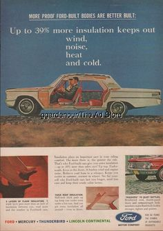 1963 Ford Motor Company Car Bodies Insulation Vintage 1960s Print Ad
