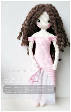Crochet doll amigurumi . Hair with deconstructed yarn look wonderful