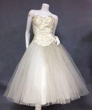 SUPERB Sequined Strapless Cream Satin & Tulle 1950's Wedding Dress