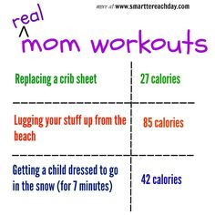 HOW MANY CALORIES MOMS REALLY BURN IN A DAY - This list is hilarious and so true!