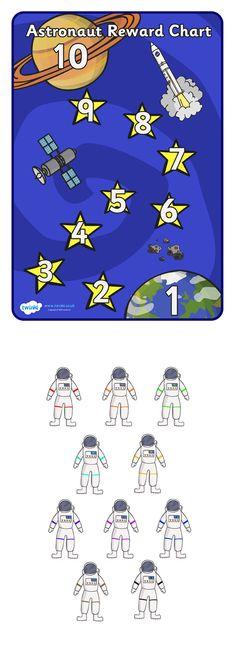 Twinkl Resources >> Astronaut Reward Chart >> Classroom printables for Pre-School, Kindergarten, Primary School and beyond! astronaut, reward chart, space, reward, award