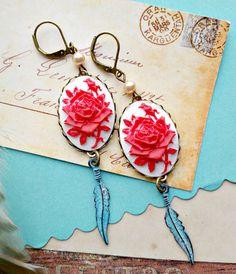boho earrings red white floral cameos mykonos by FabFleaMarket