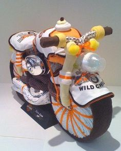 Harley Davidson motorcycle Diaper Cake, nappy cakes, baby shower gift ideas provided by Baby Favors And Gifts Brooklyn 11234