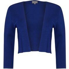 Phase Eight Salma Knit Jacket, Bondi Blue (6.470 RUB) ❤ liked on Polyvore featuring outerwear, jackets, open front jacket, knit jacket, phase eight, blue jackets and cropped jacket