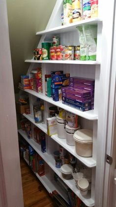 Under stairs walk-in pantry
