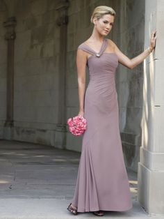 Chiffon Asymmetrical Jewel Accented Shoulder Strap Neckline Side Gathered Bodice A-line Bridesmaids Dress