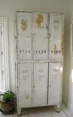 White industrial lockers