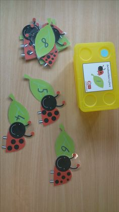 ladybirds with numbers for counting spots! Numbers Kindergarten, Math Numbers, Preschool Kindergarten, Maths Eyfs, Letter Games, Busy Boxes, Toddler Fun, Fun Math, Math Centers