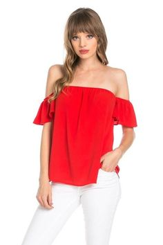 dc820473794d3c Meant For Freedom Off-The-Shoulder Red Blouse