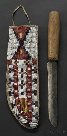 Lakota Beaded Hide Knife Sheath | Sale Number 2596B, Lot Number 173 | Skinner Auctioneers