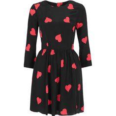 Long Sleeve Heart Flippy Dress ($80) found on Polyvore