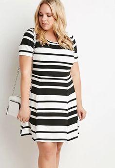 Multi-Stripe Textured Dress   Forever 21 PLUS   #forever21plus