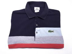 Lacoste 4 Men's M Medium Short Sleeve Polo Navy Blue Gray Red Stripe #Lacoste #PoloRugby