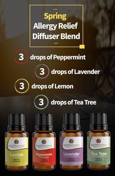 3 drops of Peppermint essential oil. 3 drops of Lavender essential oil. 3 drops of Lemon essential oil. 3 drops of Tea Tree essential oil. Place in your diffuser and help battle those allergies. Essential Oils Allergies, Essential Oil Uses, Doterra Essential Oils, Spring Allergies, Essential Oil Combinations, Essential Oil Diffuser Blends, Diffuser Recipes, Aromatherapy Oils, Allergy Relief