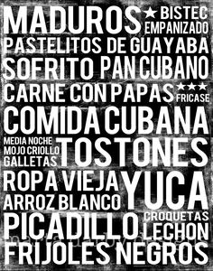 Cuban Food Subway Art Print And Comida Cubana On A Beautiful Hand Stretched Canvas Your Favorite Foods Word