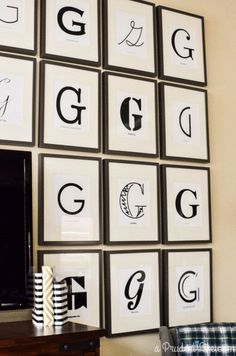 Have a big blank wall to fill? We surrounded our TV with 32 of our favorite fonts using our last initial.  Using IKEA Ribba frames and printing all the art ourselves helped cut costs on this big impact project.