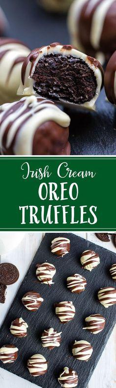 Irish cream Oreo truffles are so easy, so pretty, and so decadent - with NO cream cheese! #oreotruffles #irishcream #chocolatetruffles