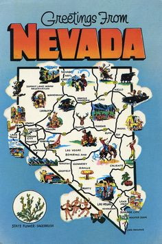 Map of State of Nevada with outline of the state cities towns