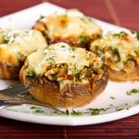 5-Ingredient Portabella Mushroom Pizza. Use cream cheese w/ bacon ant top with mozzarella