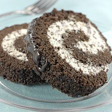 CHOCOLATE CREAM ROLL... This tender, cream-filled cake is very easy to assemble; it rolls like a dream!