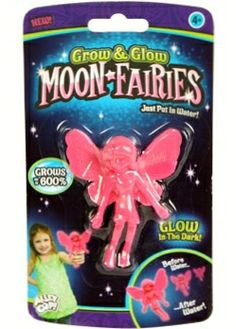 Pink, Grow and Glow in Dark Moon Fairies, Toy, Grows up to 600% after water, a fun toy!