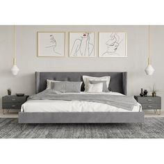 Baby Room Decor: 75 Ideas with Photos and Designs - Home Fashion Trend Bedding Master Bedroom, Home Decor Bedroom, Modern Bedroom, Bedroom With Gray Walls, Bedroom Ideas Grey, Modern Grey Bedroom, Light Gray Bedroom, Modern Minimalist Bedroom, Bedroom Red