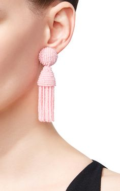 Pink Beaded Tassel Earrings by Oscar de la Renta | Moda Operandi