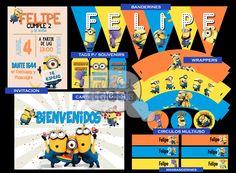 Cumple 2 años de Felipe: Temática: Minions. Diseño: Invitaciones, Wrappers, Minibanderines, Cartel Bienvenidos, Tags para souvenir, Cìrculos multiuso y Banderines