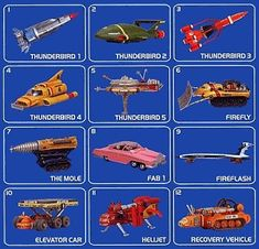 The five Thunderbirds, together with other major vehicles and craft (original 1960's versions)