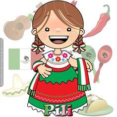 BANCO DE IMAGENES GRATIS: 100 postales de muñequitas mexicanas con nombres de mujeres, adolescentes y niñas para las fiestas patrias de septiembre en México