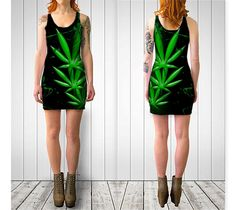 Marijuana leaf sexy short pole dancing fitted longline singlet dress sizes XS - XL by ParadoxYoga on Etsy
